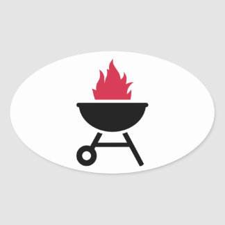 Barbecue red fire flame sticker