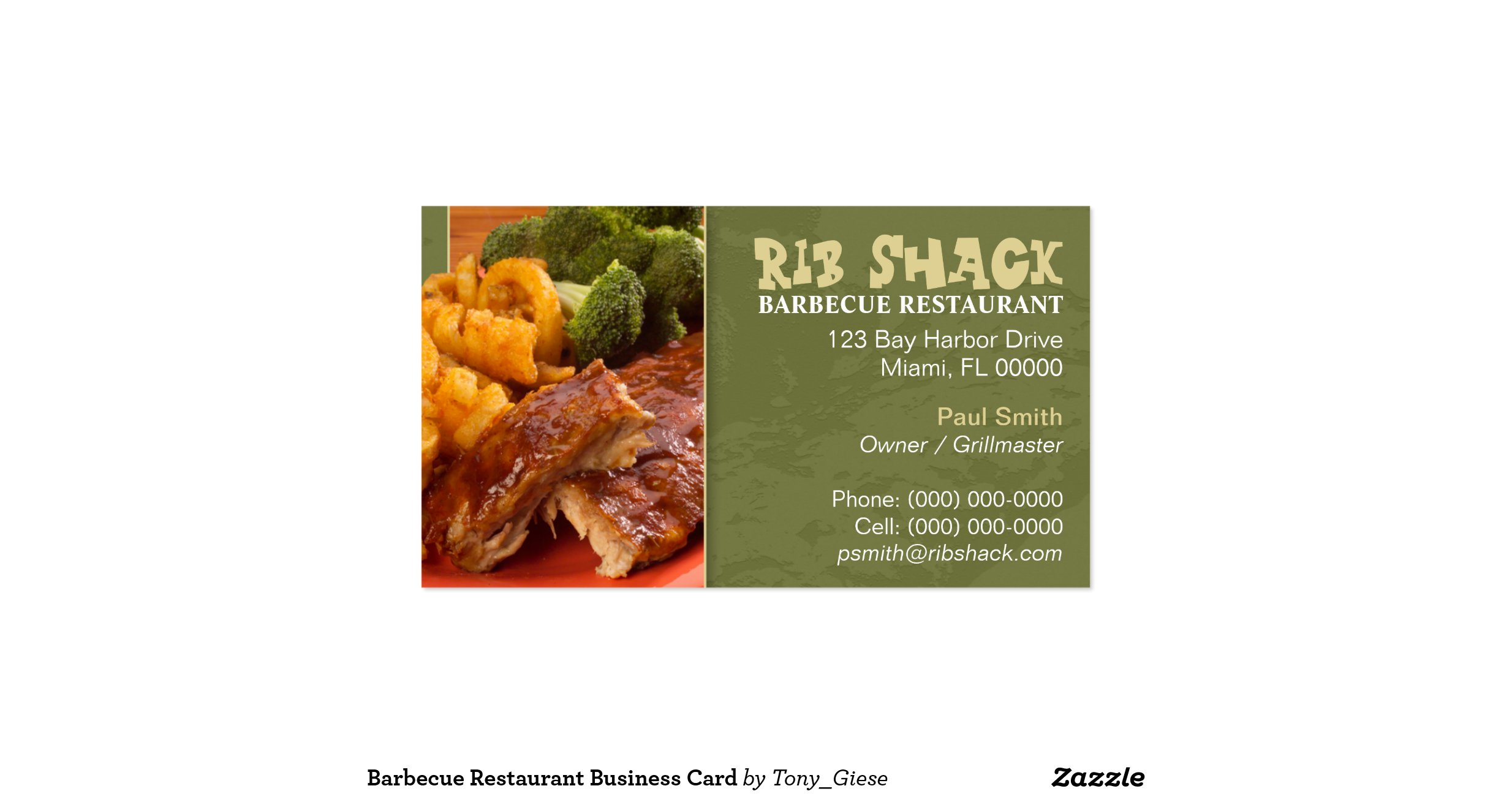 Barbecue restaurant business card for Bbq business cards