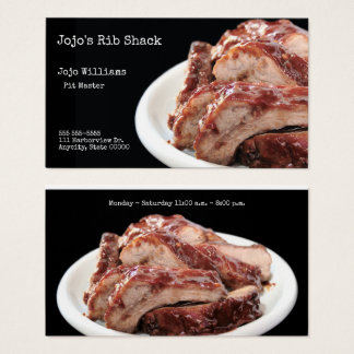 Barbecued baby back ribs business card
