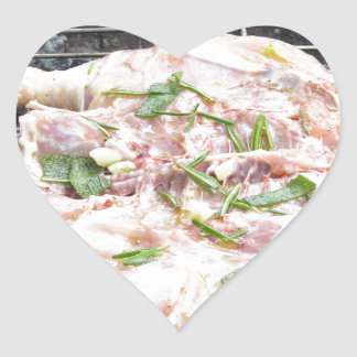 Barbecued chicken on the grill heart sticker