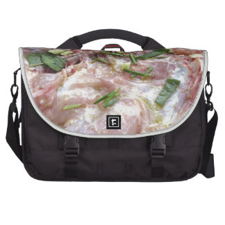 Barbecued chicken on the grill laptop messenger bag