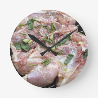 Barbecued chicken on the grill round clock