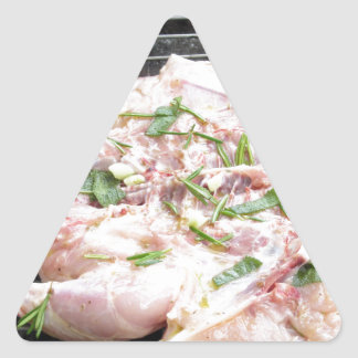 Barbecued chicken on the grill triangle sticker