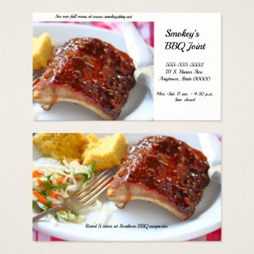 Professional Business Barbecued ribs dinner with coleslaw business card