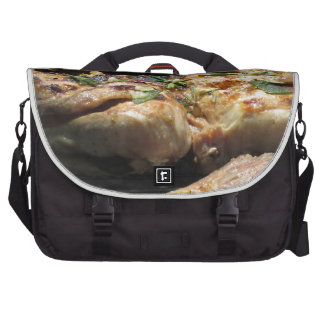 Barbecued steak and chicken on the grill bag for laptop