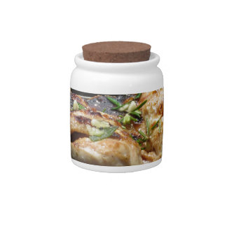 Barbecued steak and chicken on the grill candy jars