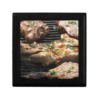 Barbecued steak and chicken on the grill gift box