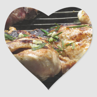 Barbecued steak and chicken on the grill heart sticker