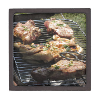 Barbecued steak and chicken on the grill jewelry box