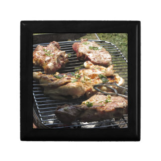 Barbecued steak and chicken on the grill keepsake box