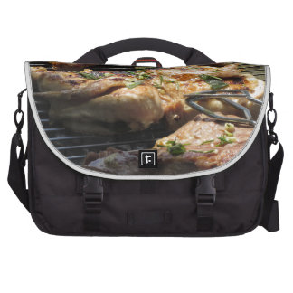 Barbecued steak and chicken on the grill laptop computer bag