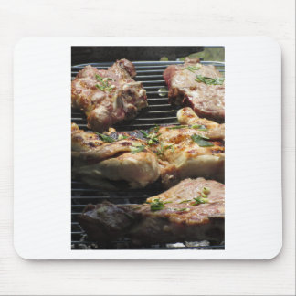 Barbecued steak and chicken on the grill mouse pad