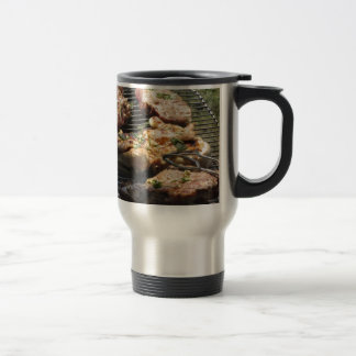 Barbecued steak and chicken on the grill travel mug