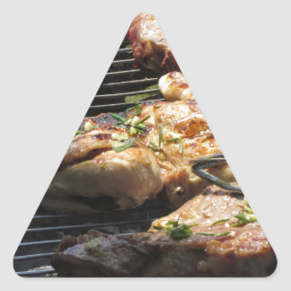 Barbecued steak and chicken on the grill triangle sticker