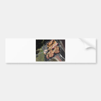 Barbecued steak and sausages on the grill bumper sticker