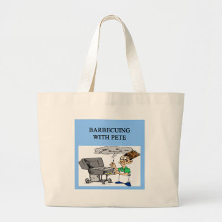 barbecueing with pete large tote bag