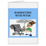 barbecueing with peter greeting cards