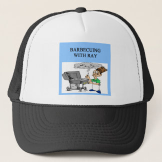 barbecueing with ray trucker hat