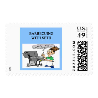barbecueing with seth postage stamps