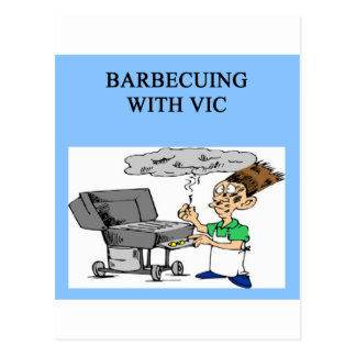 barbecueing with vic postcard