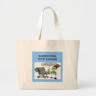 barbecueing with xander large tote bag