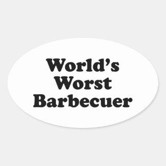 Barbecuer peor del mundo pegatina ovalada