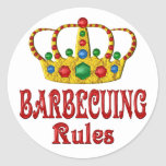 BARBECUING RULES ROUND STICKERS