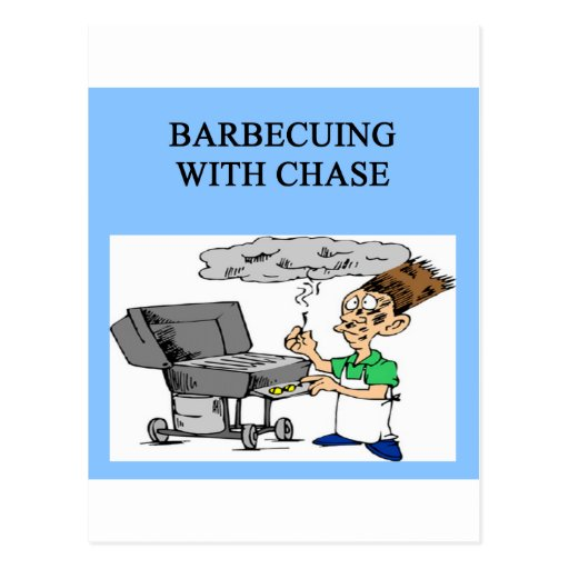 barbecuing with chase postcard