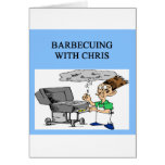 barbecuing with chris greeting card