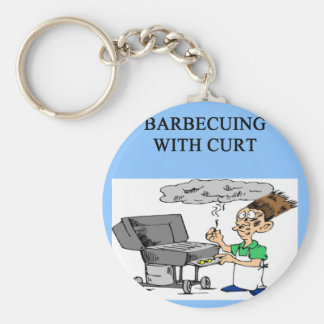 barbecuing with curt basic round button keychain