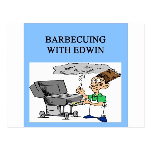 barbecuing with edwin postcard