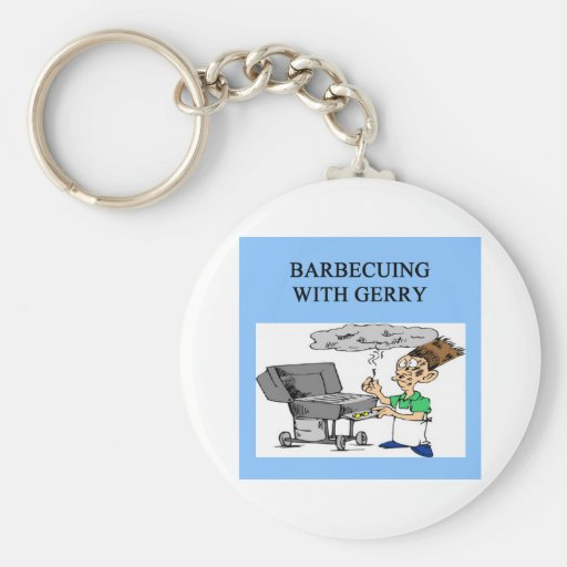 barbecuing with gerry basic round button keychain