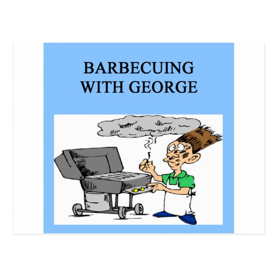 barbecuing with grorge postcard