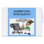 barbecuing with harvey greeting card
