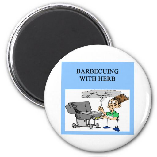 barbecuing with herb 2 inch round magnet
