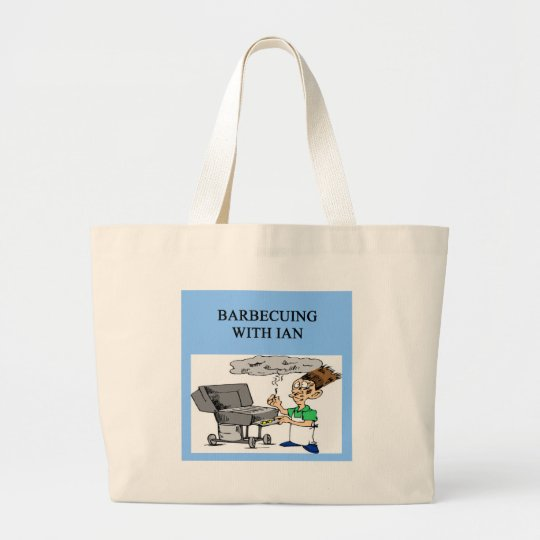 barbecuing with ian large tote bag