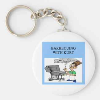 barbecuing with kurt basic round button keychain