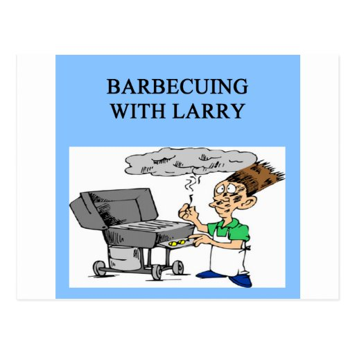 barbecuing with larry postcard