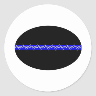 Barbed Blue Line Corrections Classic Round Sticker