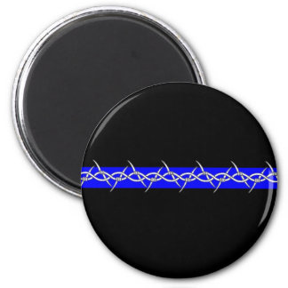 Barbed Blue Line Corrections 2 Inch Round Magnet