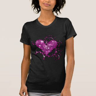 Barbed Pink Heart with Grunge Skulls & Hearts Tee Shirt