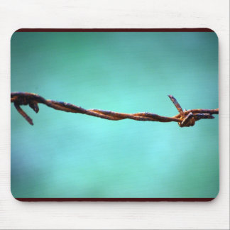 barbed WIRE AGAINST SKY BLUE BACKGROUND RANDOM ABS Mouse Pad