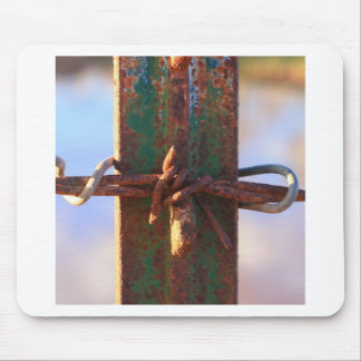 Barbed Wire and Rust Cross Mouse Pad