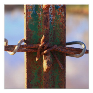 Barbed Wire and Rust Cross Poster