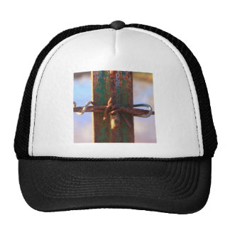 Barbed Wire and Rust Cross Trucker Hat