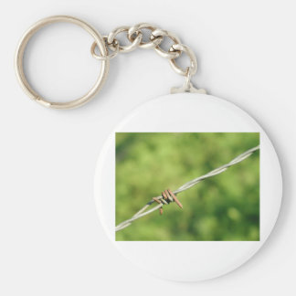 Barbed Wire, Barbed, Wire, Fencing Basic Round Button Keychain