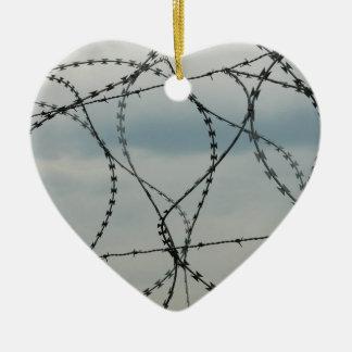 Barbed wire ceramic ornament