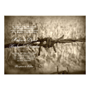 Barbed Wire Country Western Wedding Invitations Custom Invites