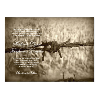 Barbed Wire Country Western Wedding Invitations