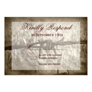Barbed Wire Country Western Wedding RSVP Cards